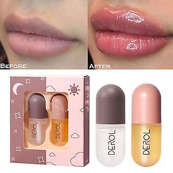 2pcs Day Night Lip Plumper Set 5ml Instant Volumising Lips Plumper Gloss Reduce Fine Lines Serum Oil Mask Moisturizer Lip Plump Essence