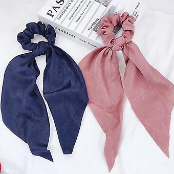 2 csomag csomózott íj haj ropogós rugalmas haj sál nyakkendők szalagok szatén lófarok tartó