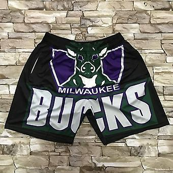 Men's Milwaukee Bucks Basketball Short Retro Sports Basketball Fans Casual Quick Dry With Pockets Shorts Pants Outdoor Sport Sandbeach Shorts Size S-x