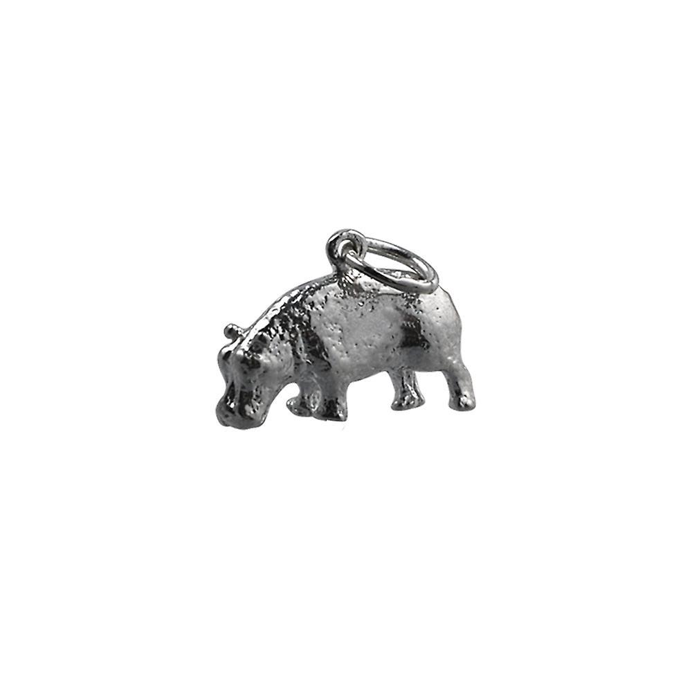 9x17mm Nilpferd Silber Anhänger oder Charm