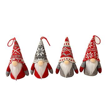 Silktaa Glowing Faceless Old Man Knitted Wool Doll Set Christmas Decorations