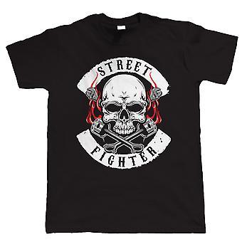 Street Fighter Gang Biker Patch T Shirt | Motocykl wyścigowy entuzjastów motocykli klubu MC Chopper Cafe Racer Superbike Pan Biker | Boże Narodzenie fajne urodziny prezent mu syn tata męża