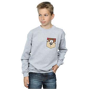 Looney Tunes Boys diable de Tasmanie Face fausse poche Sweatshirt