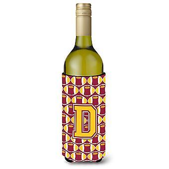 Letter D voetbal Maroon en goud wijnfles drank isolator Hugger