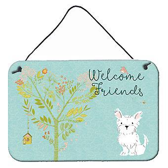 Bienvenue amis Westie mur ou une porte suspendue imprime
