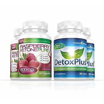 Raspberry Ketone Pure 600mg and DetoxPlus Cleanse Combo Pack - 2 Month Supply - Fat Burner and Colon Cleanse - Evolution Slimming
