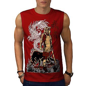 Japan Dragon Wolf män RedSleeveless T-shirt | Wellcoda