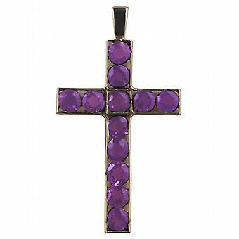 9ct gull 45x29mm Apostelens Cross satt med 12 Amethysts