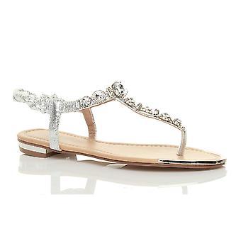 Ajvani kvinners lav hæl flat slingback gladiator t-bøylen perle tå innlegg sommer sandaler