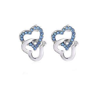 Womens Silber Ton Ohrstecker Licht blau Steine Herz Diamante