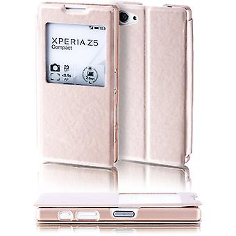 Booktasche window gold for Sony Xperia Z5 compact 4.6