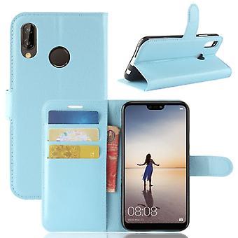 Pocket plånbok premium blå för Huawei P20 Lite skydd ärm fall täcka påse nya tillbehör
