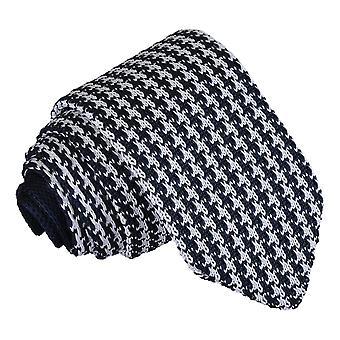 Weißen und Marine Houndstooth gestrickte schmale Krawatte