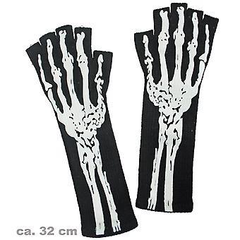 Str-Handsch schwarz Skelett Knochen Halloween Accessoire
