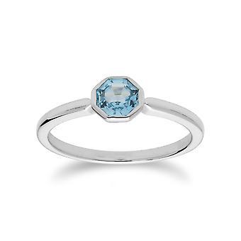 Gemondo Sterling Silver Blue Topaz November enkele stenen Octagon Ring