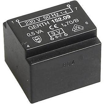 Gerth PT201201 PCB mount transformer 1 x 230 V 1 x 12 V AC 0.50 VA 41 mA