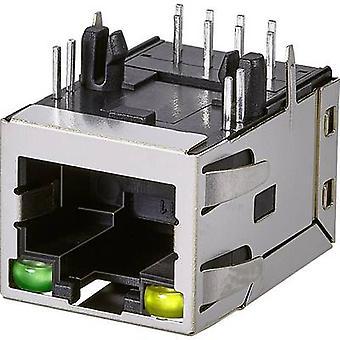 Modulaire gemonteerde socket, 1 poort, CAT 3 Socket, horizontale mount aantal pins: 8P8C A63-113-331P4D2 metaal EDAC PC('s) A63-113-331P4D2 1