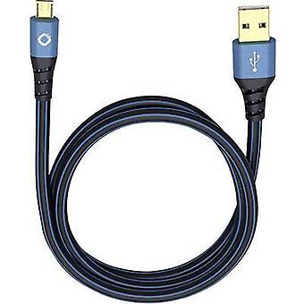 Cavo USB 2.0 [1x connettore USB 2.0 A - 1x connettore USB 2.0 Micro B] 3,00 m Connettori placcati oro blu Oehlbach USB Plus Micro