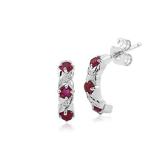 Classic Round Ruby & Diamond Half Hoop Earrings in 9ct White Gold 162E0238029