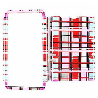 Unlimited Cellular Rocker Snap On Cover pour Motorola XT913/Razr Maxx (Transparent Red/Pink/White Blocks)
