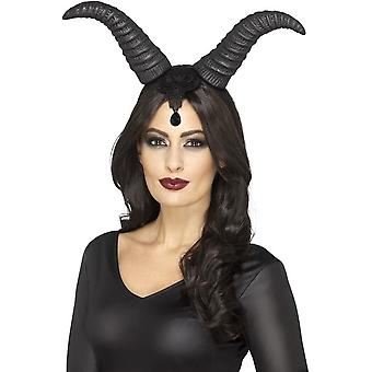 Smiffy's Demonic Queen Horns, On Headband, Black, With Lace