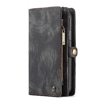 CASEME iPhone XR Retro Split portefeuille en cuir Case-gris