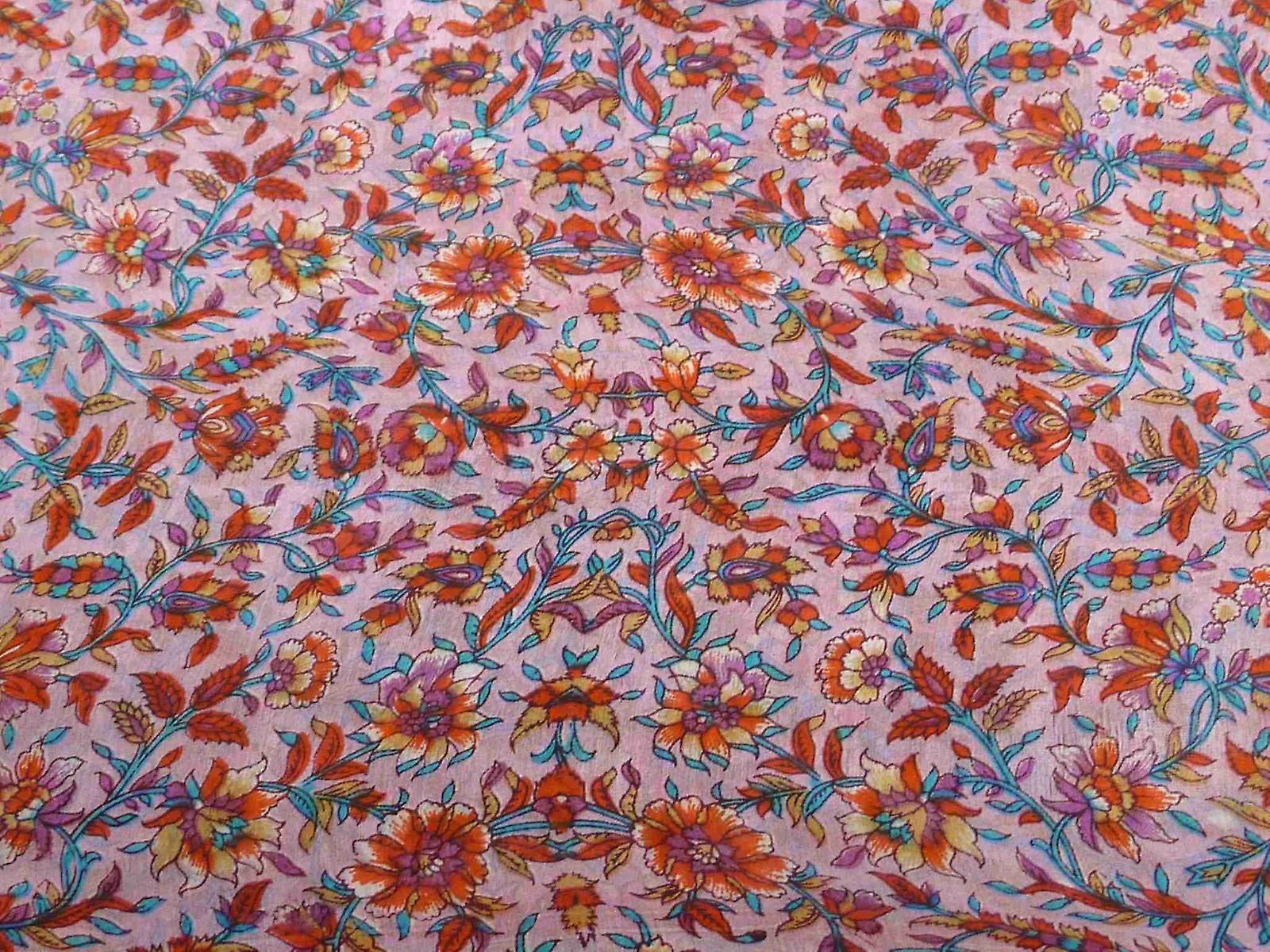 Mulberry Silk Traditional Long Scarf Ajas Rose & Orange by Pashmina & Silk