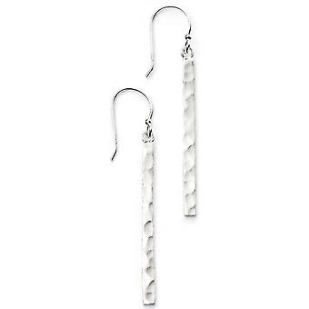 Beginnings Hammered Bar Drop Earrings - Silver