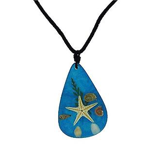 The Olivia Collection Nautical Underwater Life Necklace with REAL Starfish Blue Background