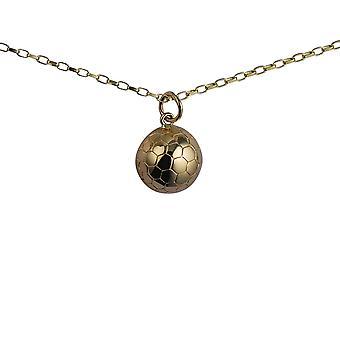 9ct goud 14mm solid voetbal hanger met een 1.4mm breed belcher keten 24 inch