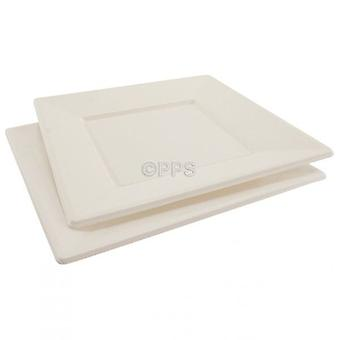 Pack of 6 Plates Plastic White Square 23cm Disposable Party Picnic Plates