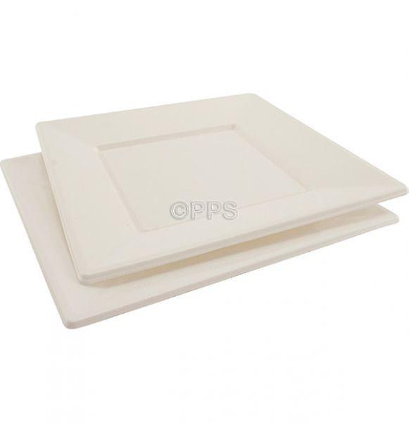 Confezione di 6 piastre di plastica quadrato bianco 23cm monouso Picnic partito piastre