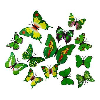 13pcs Green Decorative 3D butterflies in paper for walls