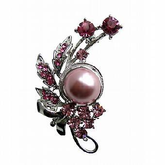 Rose rosa Kristalle & rosa Perlen Rosa kubischer Zirkon Brosche Pin