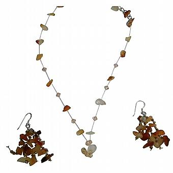 Carnelian kamień Chip idealna Biżuteria kryształ Colorado pływające Komplet Naszyjnik z pomponem upuść srebrne kolczyki