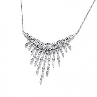 Cavendish französische Silber und CZ Vintage Stil Wasserfall Halskette