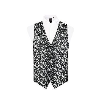 Dobell Mens Black/Silver Waistcoat Regular Fit 5 Button Edwardian Swirl Jacquard Pattern