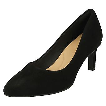 Ladies Clarks teksturert Court sko Calla Rose - sort semsket - UK størrelse 7.5D - EU størrelse 41,5 - USA størrelse 10M