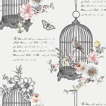 Diamant Birdcage Glitter behang vlinders vogels bloemen grijs zwart roze