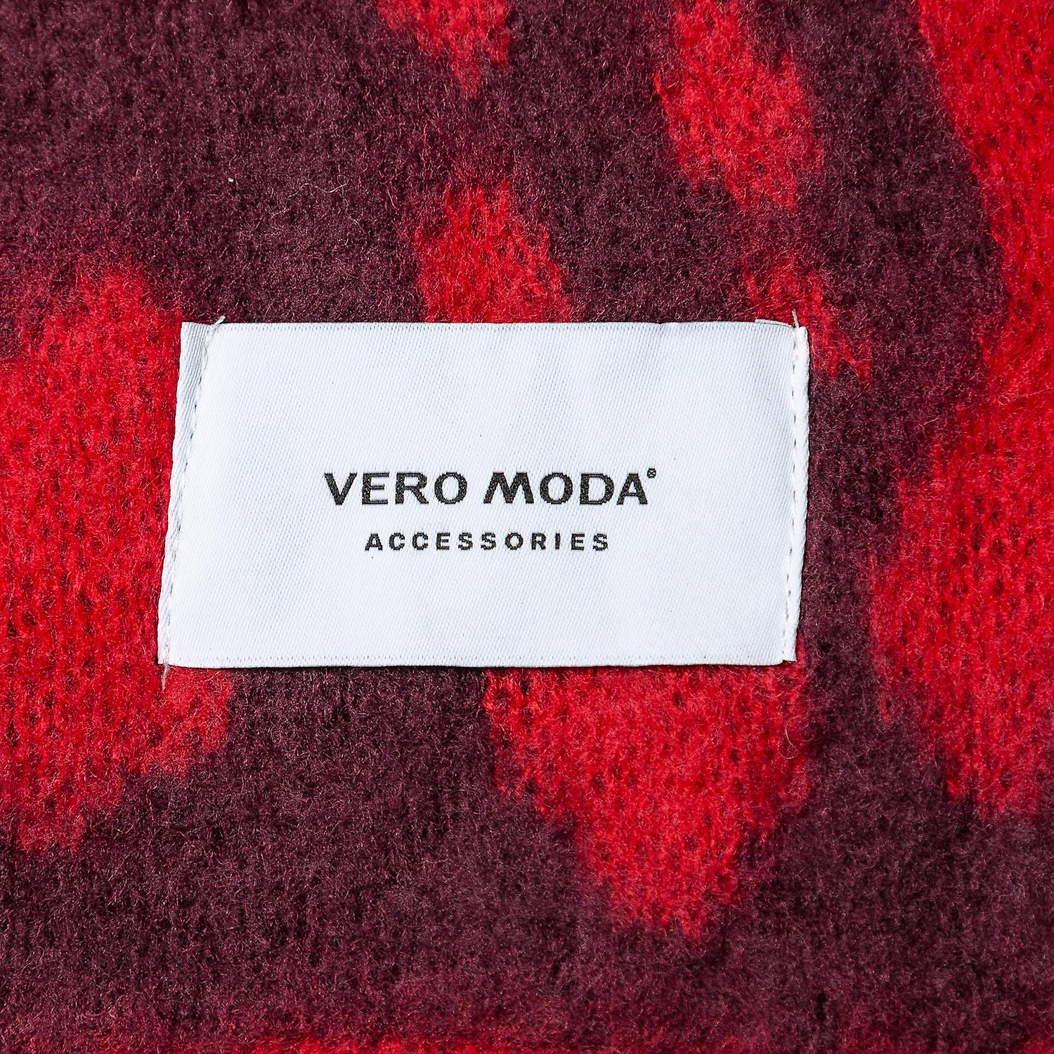 Womens Vero Moda Rica Long Scarf Set In Chinese Red