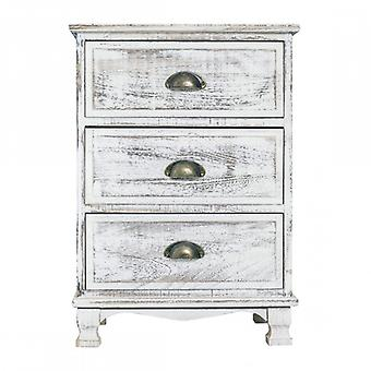 Meubles Rebecca Cassetti Comodino 3 tiroirs en bois blanc Shabby 63x45x30