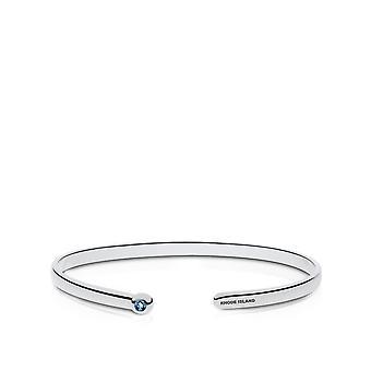 University Of Rhode Island Engraved Sterling Silver Blue Topaz Cuff Bracelet