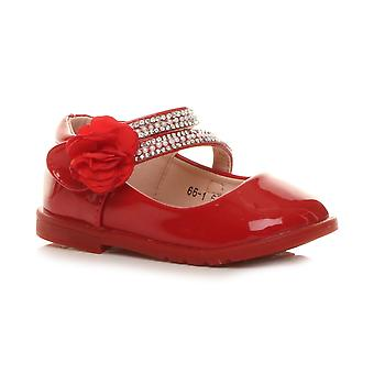 Ajvani girls flat gem flower strap bridesmaid party formal shoes
