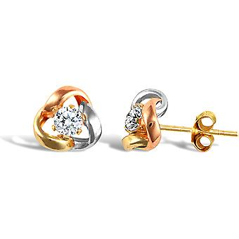 Jewelco London Ladies 9ct Yellow White and Rose Gold White Round Brilliant Cubic Zirconia Love Knot Solitaire Stud Earrings