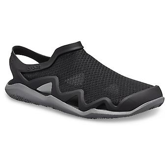 Crocs Mens Swiftwater Mesh Wave Slip On Sandal Black/Slate Grey
