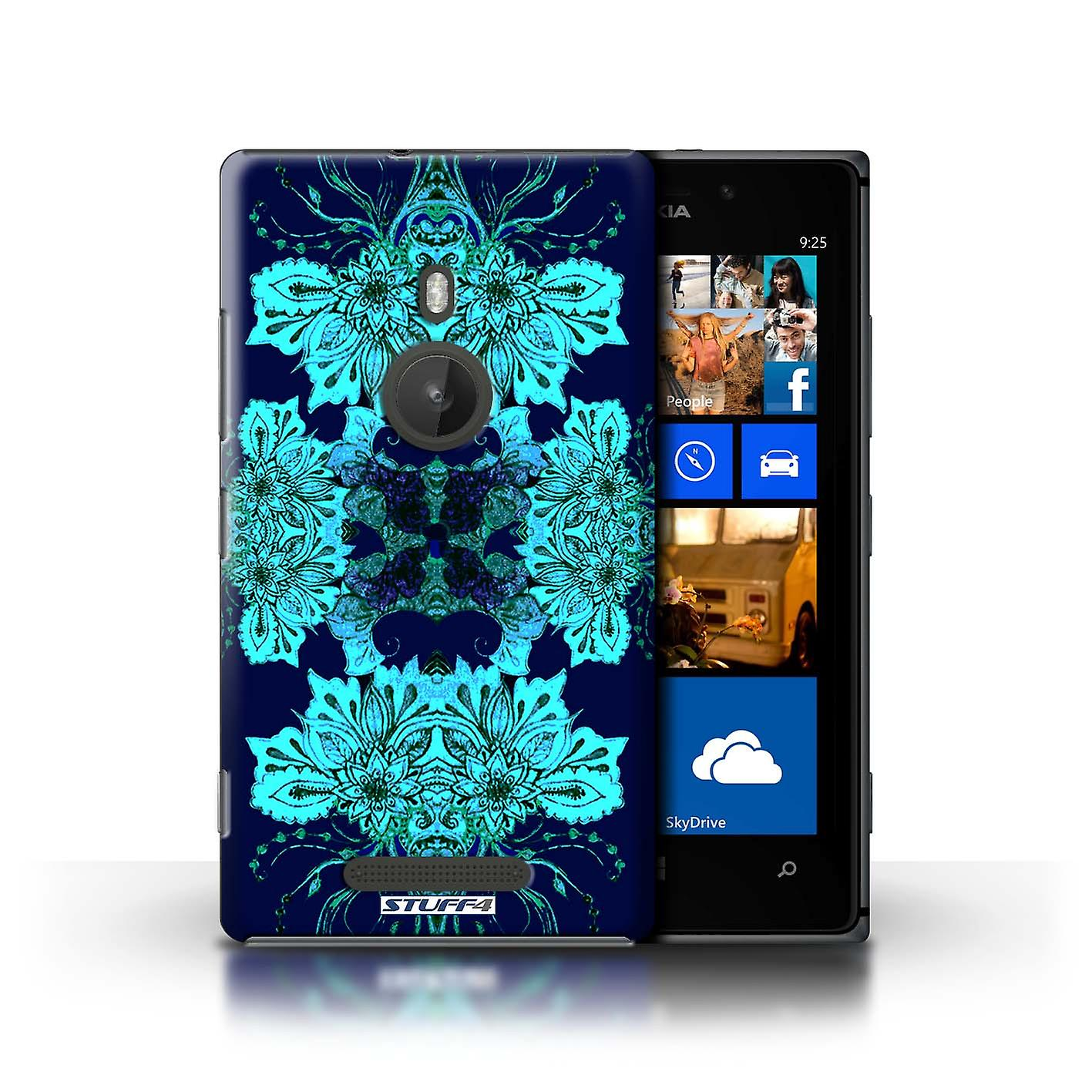 STUFF4 Case/Cover for Nokia Lumia 925/Blue Flower/Symmetry Pattern