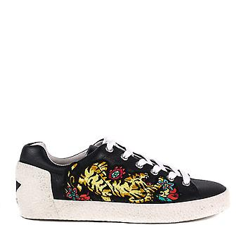Ash NIAGARA Tiger Embroidered Trainers Black Leather