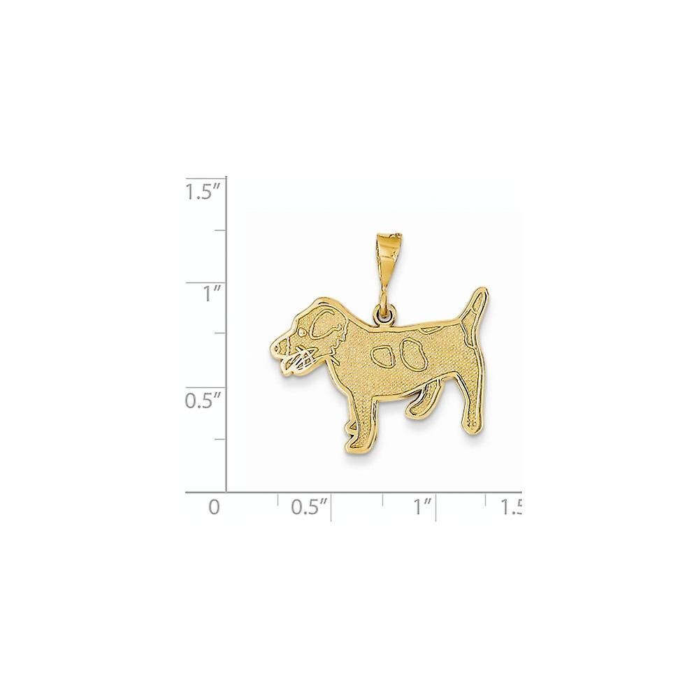 14 k Gelbgold solide poliert strukturiert estrukturiert zurück Jack Russell Terrier Tier Haustier Hund Anhänger Halskette Schmuck Geschenke für Wome