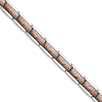 Stainless Steel Fold over Brown IP plated Polished and Textured Bracelet 8.5 Inch Jewelry Gifts for Women