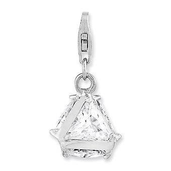 925 Sterling Silver Rhodium plated Fancy Lobster Closure Rhodium Plated 3 d CZ Cubic Zirconia Simulated Diamond With Lob